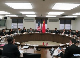 WASHINGTON D.C., May 12, 2016 (Xinhua) -- China and the United States hold their first dialogue on outer space safety in Washington D.C., the United States, May 10, 2016. During the dialogue on Tuesday the two sides exchanged views on issues such as outer space policy, bilateral cooperation on space safety and multilateral space initiatives. (Xinhua)