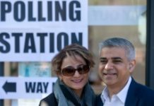 AFP / Justin Tallis Labour lawmaker Sadiq Khan, pictured with wife Saadiya, is tipped to beat Conservative multimillionaire environmentalist Zac Goldsmith in the race to run the British capital