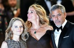 "AFP/File / Alberto Pizzoli US director Jodie Foster (L), US actress Julia Roberts (C) and US actor George Clooney after the screening of the film ""Money Monster"" at the Cannes Film Festival this month"