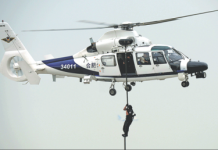 Members of a SWAT team rehearse landing from a AC312 police helicopter during an aviation exhibition in Tianjin last year. [Photo by Liu Yang/China Daily]