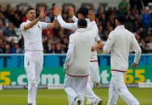 AFP / Lindsey Parnaby England's James Anderson (L) celebrates after taking the wicket of Sri Lanka's Dasun Shanaka for 4 runs on the third day of the first Test at Headingley in Leeds, northern England on May 21, 2016