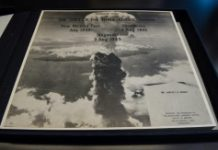 AFP/File / Nicholas Kamm A picture taken by the US military shows a mushroom cloud from one of the two atomic bombs dropped on Japan in August 1945