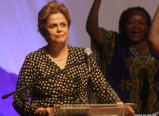 BRASILIA, May 11, 2016 (Xinhua) -- Brazil's President Dilma Rousseff (Front) takes part in the 4th National Conference of Policy for Women in Brasilia, capital of Brazil, on May 10, 2016. (Xinhua/Joel Rodrigues/FRAMEPHOTO/AGENCIA ESTADO)