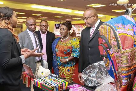 Ghana HC to the UK,HE Victor Smith and Deputy Minister of Tourism, Dzifa Gomashie interacting with exhibitots at the expo
