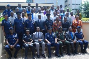Leadership of the Police Service with Senior Media Practitioners in a group photograph after the IGP/Media engagement in Accra