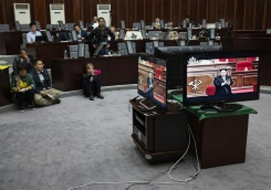 AFP/File / Ed Jones Journalists watch a television broadcast of speech by North Korean leader Kim Jong-Un at the 7th Workers Party Congress, in the media room of the Yanggakdo hotel in Pyongyang, on May 6, 2016