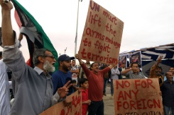 AFP/File / Abdullah Doma Libyans demonstrate in Benghazi calling for military forces to re-capture the southern city of Sirte from the Islamic State group without foreign intervention