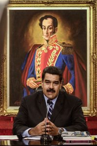 Venezuelan President Nicolas Maduro, takes part in an international press conference at Miraflores Palace, in Caracas, capital of Venezuela, on May 17, 2016. [Photo/Xinhua]