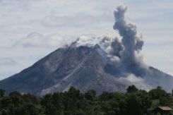 AFP / Ardiansyah Putra The Sinabung volcano spews hot clouds of ash and gas into the air on Sumatra island