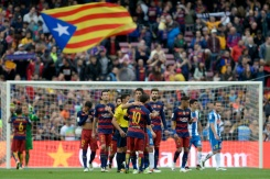 AFP/File / Josep Lago Barcelona have had four straight victories by a combined 21-0 scoreline to take them to the brink of a sixth Spanish title in eight seasons