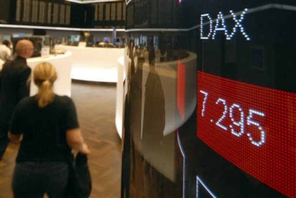 The German Stock Index (DAX) display is highlighted in red at the stock exchange in Frankfurt, Germany, Thursday, Aug. 16, 2007. Global stock markets tumbled again Thursday, battered by persistent worries about U.S. housing loan problems and their possible damage to the global economy. (AP Photo/Bernd Kammerer)