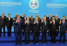 """The """"family photo"""" of SCO leaders, taken at the 2015 summit in Ufa, Russia. Image Credit: Flickr/ MEAphotogallery"""