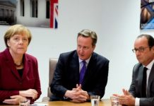 David Cameron is seen at a previous meeting with Germany's Angela Merkel and France's Francois Hollande