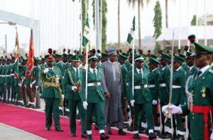 File Photo: President Muhammadu Buhari inspecting the Guards of honour