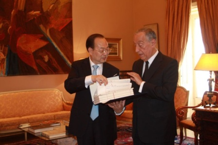 Yang Zhenwu and Marcelo Rebelo de Sousa