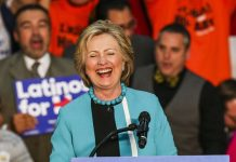 Democratic presidential candidate Hillary Clinton smiles as she campaigns at East Los Angeles College in Los Angeles, the United States, May 5, 2016. [Photo/Xinhua]