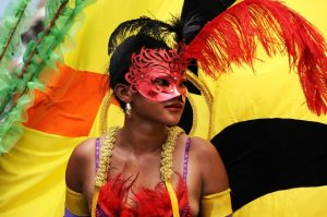 An artist performs during the opening parade of the three-day Ghana Carnival 2016 in Accra, Ghana, on July 1, 2016. Ghana Carnival 2016 started on Friday with colorful events including beach party, poetry recitals, live paintings and band display while countries like Seychelles, Togo, Trinidad and Tobago and Nigeria will participate. (Xinhua/Lin Xiaowei)