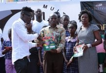 Shatta Wale donates educational materials