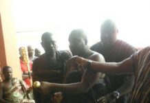 Nana Kofi Obeng Brafo taking the chieftaincy oath