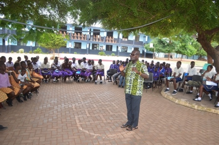 students and Mr David Nyaogbe, Co-Founder of the Ghana Society for the Protection and Care of Animals during the education session at Agbogba