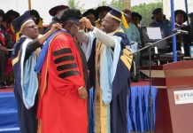Chief Bashorun Dele Momodu (middle) being robed by Brolor Bosso Adamtey I (right) and Dr Seidu Mohammed Mustapha (left)