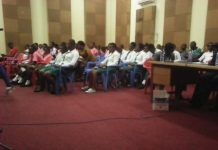Students and Staff keenly listening to the Broadcast Quiz Competition at GBC URA Radio Studio
