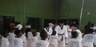 Evergreen International School pupils being taken through the Taekwondo exercise