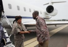 Vice President Amissah-Arthur welcoming President Ellen Johnson Sirleaf to Ghana.