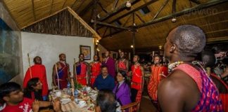 Guests enjoy a traditional dance at the Sentrim Mara Camp