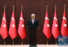Turkish Prime Minister Binali Yildirim delivers a speech during a press conference after a Turkish-Israeli meeting, at the Cankaya Palace in Ankara, on June 27, 2016. (AFP/Xinhua)