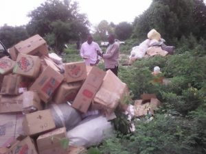 Seized items deposited at Sirigu disposal site ready to be burnt