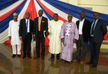 Prof Olanrewaju Fagbohun poses with UEW Officials