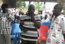 Fred Oware (Arrowed), Addressing A Gathering In The Volta Region