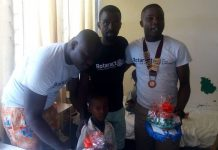 Rotaract Presidents of the Three sponsoring clubs of the project with a patient. RoCH President in the Middle