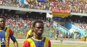 Gabriel Darko leading the Hearts two seasons ago.