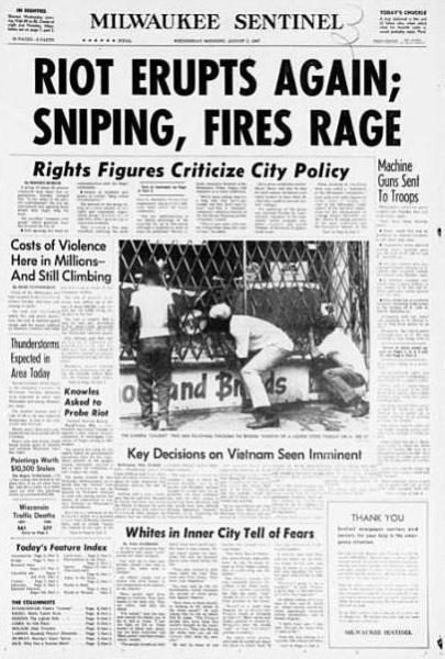 Milwaukee Rebellion newspaper coverage in July 1967