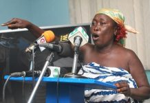 Naa Afia Ansah stressing a point at the press conference in Accra recently