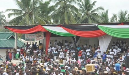members of the Central Regional NDC Election Task Force and a cross section of the crowd at the Agona Swedru Stadium.