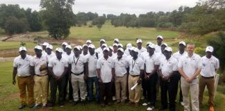 Group photograph of the golfers with executives of PGA of Ghana, members from Damang Golf Club and reps from the sponsors