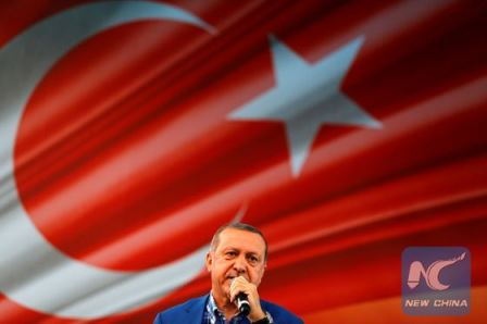 Turkey's President Tayyip Erdogan speaks during the United Solidarity and Brotherhood rally in Gaziantep, Turkey, August 28, 2016. [Photo/Xinhua]