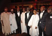 Senate Minority Leader, Chief Godswill Akpabio; Governor of Plateau State, Simon Lalong; DG, The Nigerian Maritime Administration and Safety Agency, NIMASA; Segun Awolowo Jnr., the Executive Director/CEO, Nigerian Export Promotion Council (NEPC); former GMD/CEO, UBA Plc, Phillips Oduoza; Governor of Kaduna State, Malam Nasir el-Rufai; CEO, Air Peace, Barrister Allen Onyeama; and Governor of Abia State, Dr Okezie Ikpeazu, at the send-off ceremony held for Oduoza in Lagos on Saturday