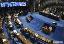 Congress people take part in the Brazilian Senate's session, during which the final stage of the impeachment process against suspended Brazilian President Dilma Rousseff is started, in Brasilia, Brazil, on Aug. 25, 2016. [Xinhua]