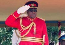 President John Mahama (left) taking the salute at the graduation