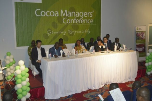 The Chairman of the occasion, the La Mantse, Dr Nii Kpobi Tettey Tsuru III, flanked by the Deputy Chief Executive of COCOBOD, Mr James Kofi Kotsoati and the CEO of Olam Ghana, Mr Amit Agrawal and others.