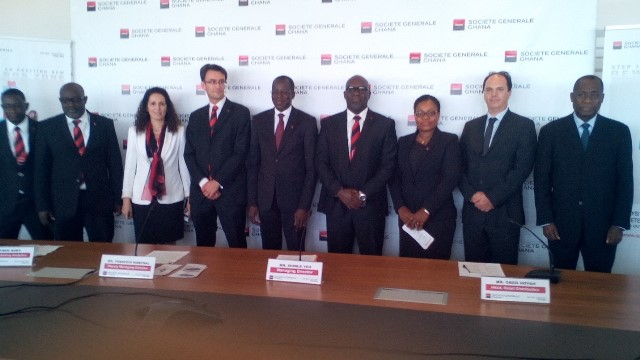 Officials of Societe Generale at the launch of `` The Reward Zone''