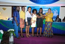 MTN CORPORATE COMMS TEAM RECEIVING THE AWARD FROM MS JOYCE ARYEE -IPR