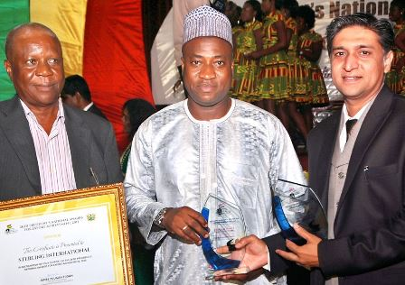 ( The Platinum awards were presented to Mr. Arun Patil, Executive Director (right), Mr. Chris-Arcmann Ackummey, Director (left) of Sterling International Limited by Mr. Murtala Mohammed, Deputy Minister - Ministry of Trade and Industry, Ghana)