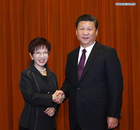 Xi Jinping (R), general secretary of the Communist Party of China Central Committee, meets with a delegation led by Hung Hsiu-chu, leader of Taiwan's Kuomintang (KMT) Party, at the Great Hall of the People in Beijing, capital of China, Nov. 1, 2016. [Photo/Xinhua]