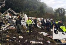 Image provided by Noticias Telemedellin shows rescuers inspecting the site of the crashed plane carrying the Brazilian soccer team Chapecoense, in La Ceja municipality, near Medellin, in the department of Antioquia, Colombia, on Nov. 29, 2016. [Photo/Xinhua]