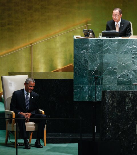 U.S. President Barack Obama (L) attends the 71st session of the United Nations General Assembly at the UN headquarters in New York, on Sept. 20, 2016. (Xinhua/Li Muzi) (zw)